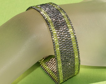 Simply Stripes ... Bracelet . Peyote . Chartreuse . Stainless Steel . Silver Lined Beads . Narrow . Slender . Stylish . Sophisticated