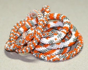 Braith ... Necklace or Bracelet . Bright Orange . Snow White . Silvery Gray . Bead Crochet Rope . Modern . Bold . Patterned . Chic