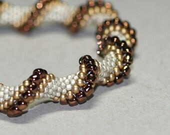 Metallic Twist ... Bracelet . Bangle . Matte Silver . Gold . Dark Bronze . Shiny . Contrast . Bead Crochet . Spirals . Elegant