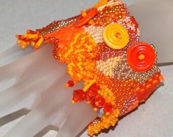 Tangerine and Mango Tango ... Bracelet . Freeform Peyote . Orange . Peach . Hibiscus . Wide Cuff . Abstract . Unique . Swarovski Crystals