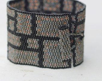 Rivets in Steel ... Peyote Bracelet . Beadwoven Cuff . Wide . Industrial Style . Masculine . Blocks . Geometric . Matte Steel . Black