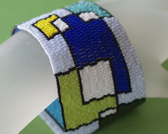 Playing with Blocks ... Peyote Bracelet . Cuff . Wide . Geometric . Blues . Greens . Mondrian Inspired . Abstract . Retro