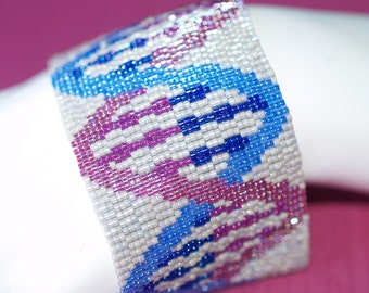 DNA in Violet and Blue ... Bracelet . Cuff . Peyote . Beadwoven . Wide . Genetics . Geekery . Science . Bold . Deoxyrybonucleic Acid