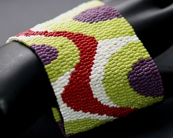 Bends and Bubbles ... Peyote Cuff . Wide Bracelet . Ultra-Hip Colors . Brick Red . Chartreuse . Dark Plum . Waves . Dots
