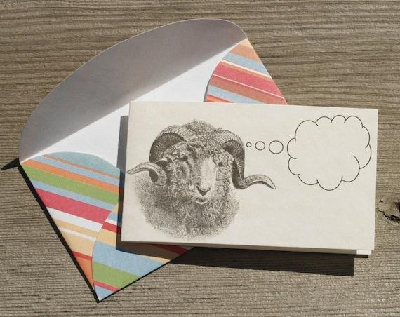 Wooly Woolgatherer - Set of 5 Mini Notecards and Envelopes