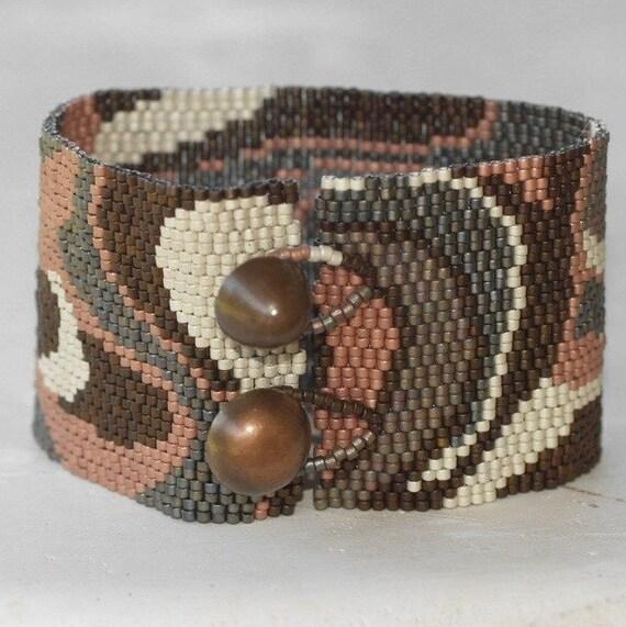 Modern Metals ... Peyote Bracelet . Beadwoven Cuff . Wide . Metallic . Matte . Bronze. Copper . Steel . Pewter . Platinum . Brass . Abstract