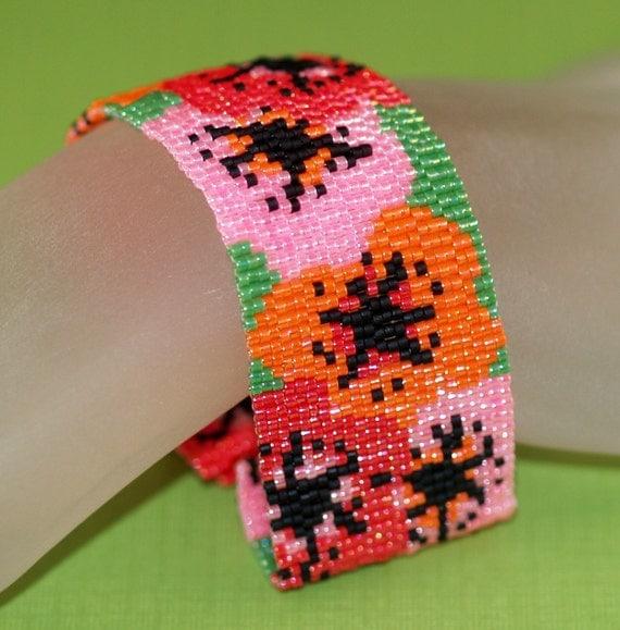 Poppies ... Peyote Bracelet . Beadwoven Cuff . Flowers . Floral . Spring . Summer . Red . Orange . Pink . Green . Bouquet . Feminine