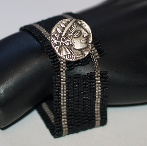 Romanesque ... Bracelet Cuff . Peyote . Matte Steel . Matte Black . Italian Button . Slim . Slinky