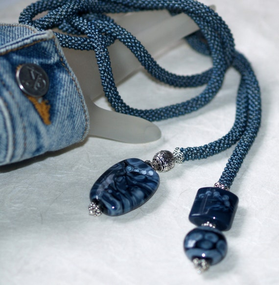 Forever in Blue Jeans - Luxurious Bead Crochet Lariat with Artisan Lampwork Beads (3351)