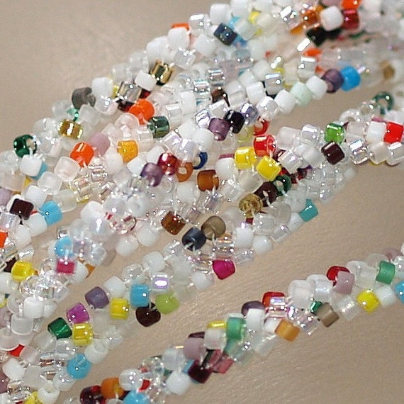Confetti Spaghetti ... Necklace or Bracelet . Beadwoven . Beadweaving . Ndebele Rope . Multicolor . Sprinkles . Rainbow . Custom Colors
