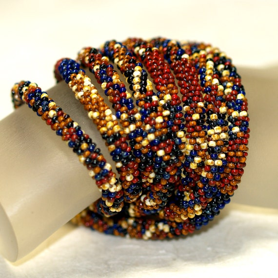 Trevelyan ... Necklace . Bead Crochet Rope . Earthy Colors . Autumn . Picasso Finish . Burgundy . Caramel . Cream . Dark Blue