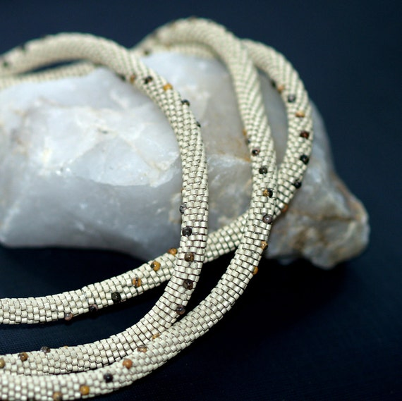 Sand and Stone ... Necklace or Bracelet . Bead Crochet Rope . Jasper Rounds . Subtle Colors . Natural Stones . Classic . Matte . Textural