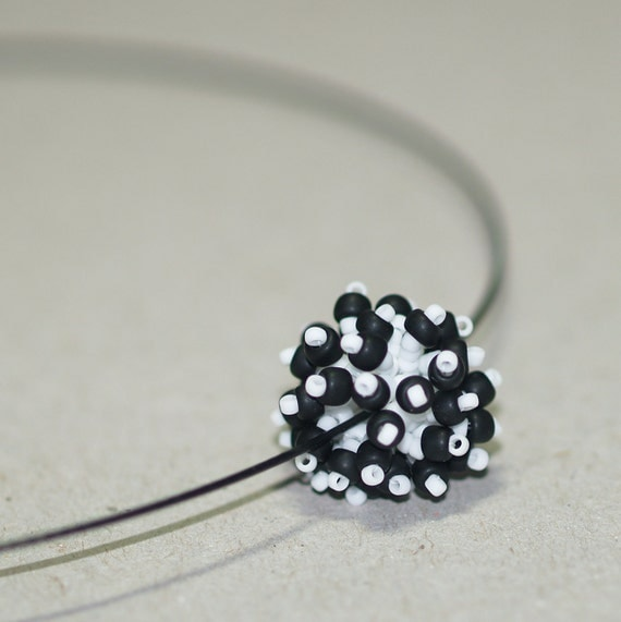 Black and White Bauble ... Beaded Bead . Fringe . Pendant . Necklace . Wire Choker . Bold . Fun . Modern . Cute