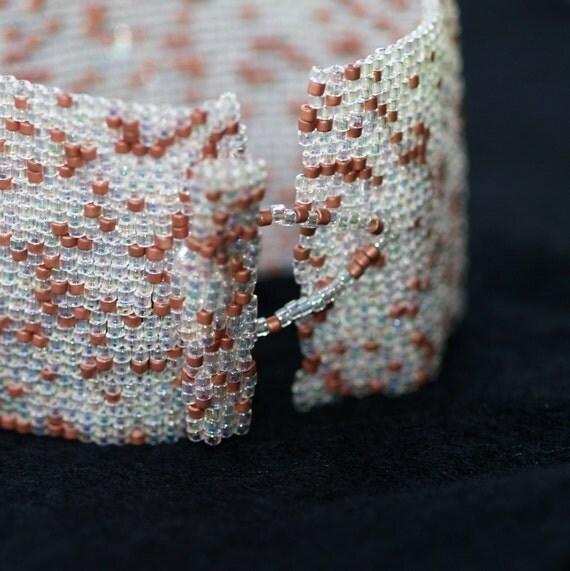 Crystal and Copper ... Bracelet Cuff . Beadwoven . Peyote . Sparkle . Metallic . Wide . Elegant