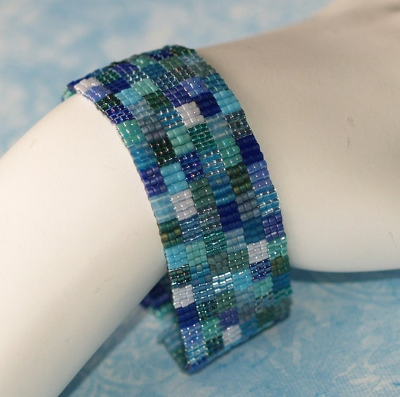 Patchwork in Blue and Green ... Peyote Bracelet . Quilt Lover . Serene . Squares . Geometric . Royal . Turquoise . Teal . Kelly . Forest