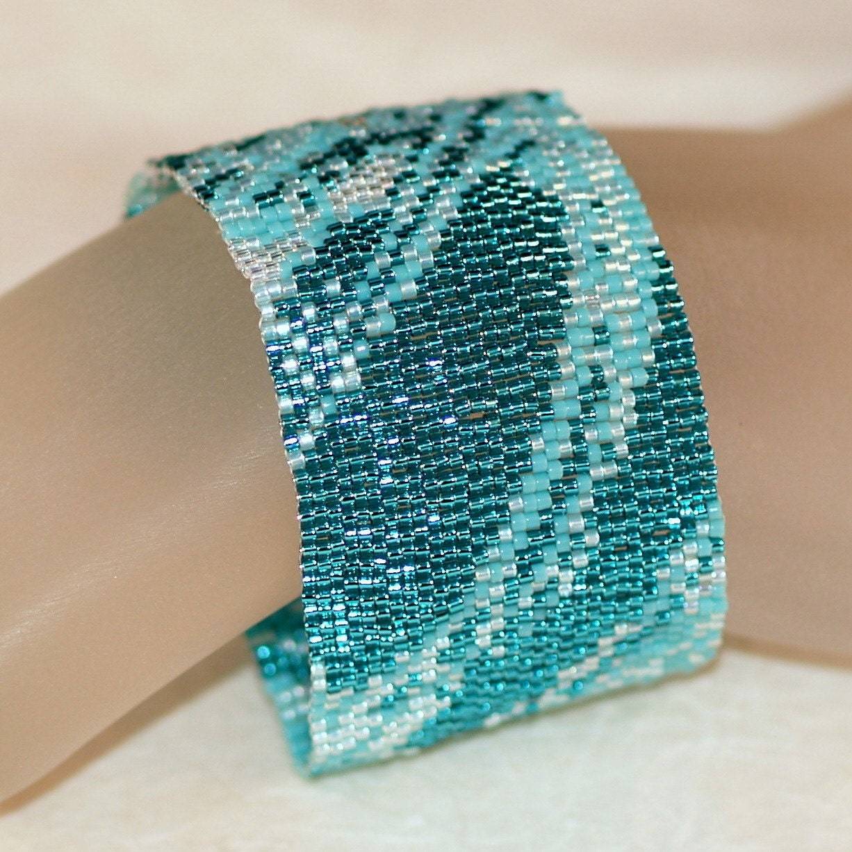 seafoam fabric turquoise jewelry aqua peyote bracelet. Black Bedroom Furniture Sets. Home Design Ideas