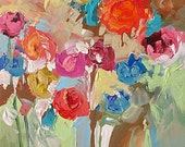 Original Abstract or Impressionist Art Floral Painting TO DREAM