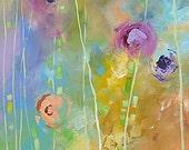 Original Floral Painting Abstract Art Garden Landscape Flowers Acrylic Canvas yellow blue 20x20 Linda Monfort