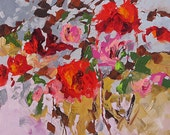 Original Abstract Floral Painting Fauve Flower Garden Bright Bold Magical Acrylic on Canvas 24x24 First Blush by Linda Monfort