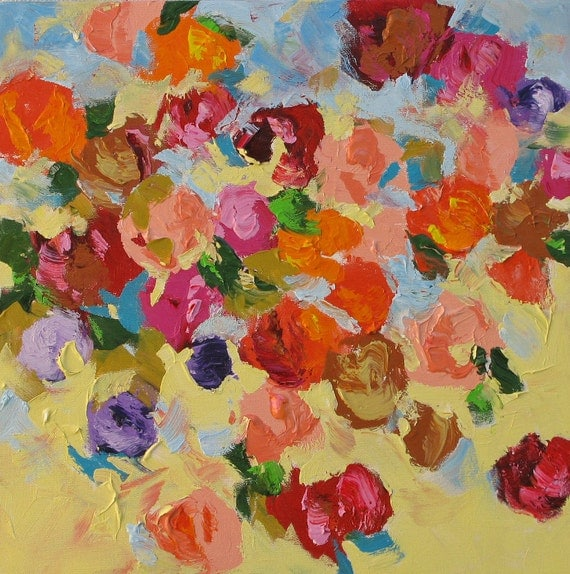 Original Floral Painting Abstract Art, Landscape, Flowers, Acrylic on Canvas  20x20 Perfect Spring Day
