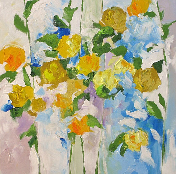 Original Flower Painting Abstract Art Impressionist Landscape Floral Garden Surreal Roses yellow blue 24x24 Linda Monfort