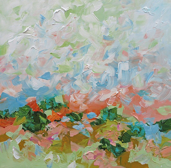 RESERVED for seedee15 - Original Landscape Painting Abstract Art, Dreamy, Acrylic on Canvas 24x24 Early Spring by Linda Monfort