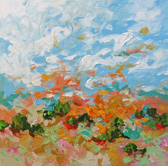 Original Abstract Art Painting Impressionist Landscape Surreal Bright Sunrise Acrylic on Canvas 30x30 Awake by Linda Monfort