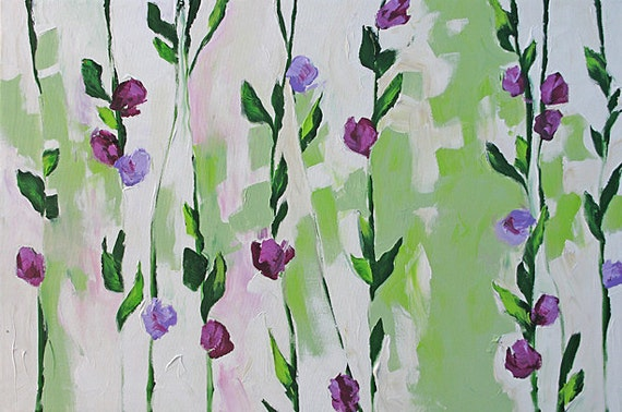 SALE - Painting Abstract Art Still Life or Landscape Painting Original Acrylic Painting on Canvas Flowers by Linda Monfort