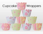 Cupcake Wrappers - Pastel Paisley - wedding cupcake tea party vintage traditional girl baby shower pink lime baby blue - Collection 263
