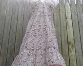 SALE Vintage Bohemian Paisley Backless Halter dress 1980s Med. Large