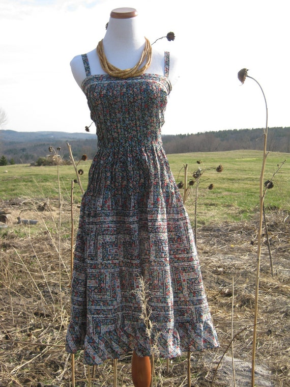 Vintage 70// 80s  Bohemian Sun Dress Nipon Boutique sz small