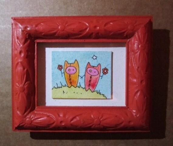 Two Peeps Tiny Miniature Original Painting dollie monsters