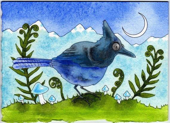 Lone Bluejay Original Watercolor Painting