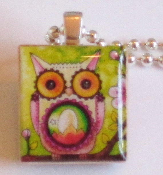 Steampunk Mechanical Owl Art Scrabble Tile Pendant