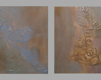 Original Paintings Textured Diptych Acrylic Art by Aisyah Ang with Cert