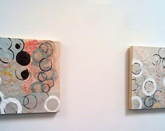 Original Paintings Abstract Mixed Media Art by Aisyah Ang Diptych with Cert