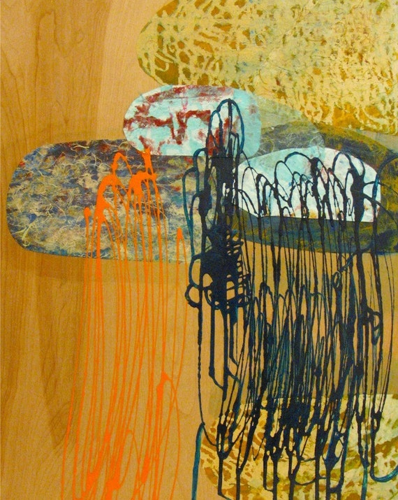 Original Painting Abstract Mixed Media Wood Art by Aisyah Ang with Cert