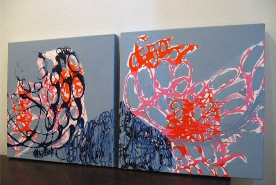 Original Painting Large Abstract Mixed Media Acrylic Diptych Art by Aisyah Ang Size 24x48 with Cert
