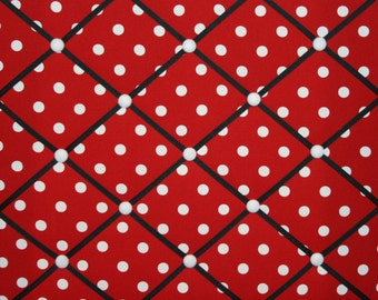 Red White Polka Dot French Ribbon Memo Board