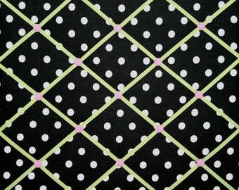 Black White Green Pink Polka Dot French Ribbon Memo Board