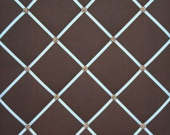Chocolate Brown Blue French Ribbon Memo Board