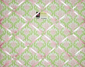 Madison Baby Pink Green Damask French RIbbon Memo Board