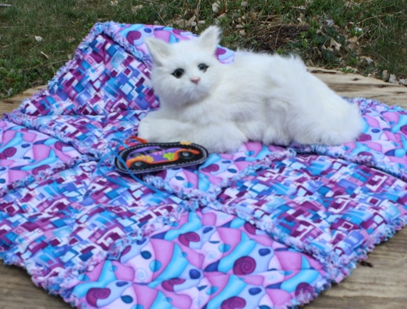 SALE--Handmade Cat Bed In Bright Blue With Hot Pink Geometric Designs