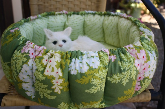 Overstuffed Round Cat Bed In Olive Green and Flowers