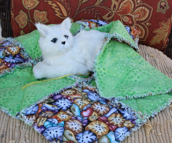 Cat Blanket In Lime Green Paw Prints