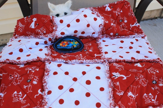 Saved for Smokey--Cat Blanket With White Playful Kitties and Red Polka Dots