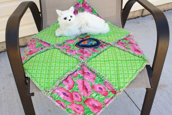 Cat Blanket In Lime Green Plaid With Hot Pink Flowers
