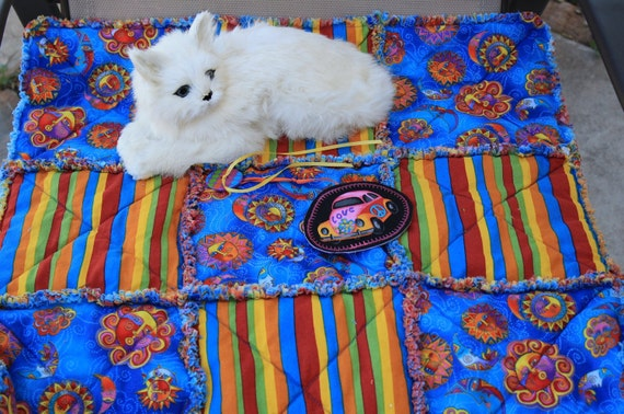 Saved for Smokey--Fabric Cat Blanket with The Sun and Moon in Bright Blue