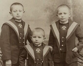 1800s cabinet card german boys rifle toy uniform