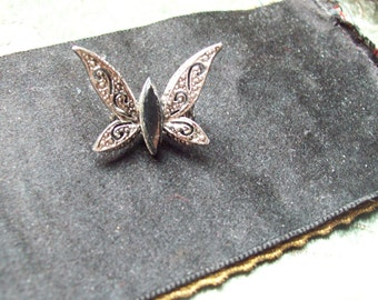 Vintage silver and black butterfly pin